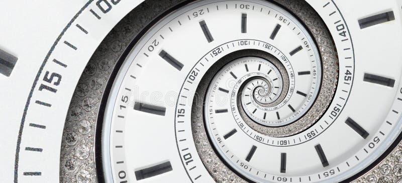 现代金刚石白色报时表钟针扭转了对超现实的螺旋 抽象螺旋分数维 手表时钟摘要纹理patt 免版税图库摄影