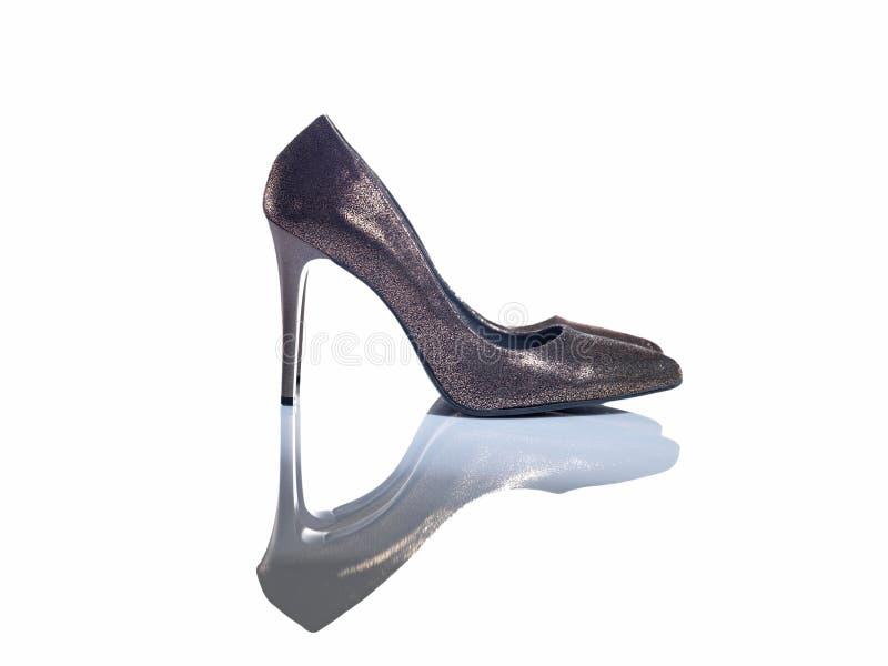 现代金子颜色鞋子 免版税库存照片
