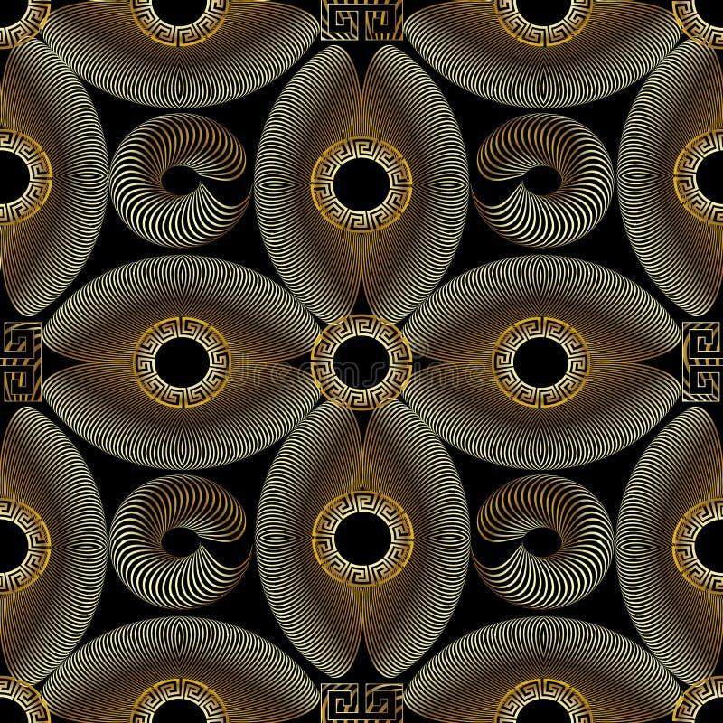 现代金织地不很细3d希腊无缝的样式 库存例证