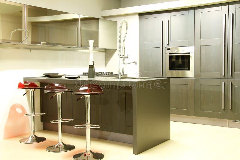 现代钢和灰色厨房 免版税库存照片