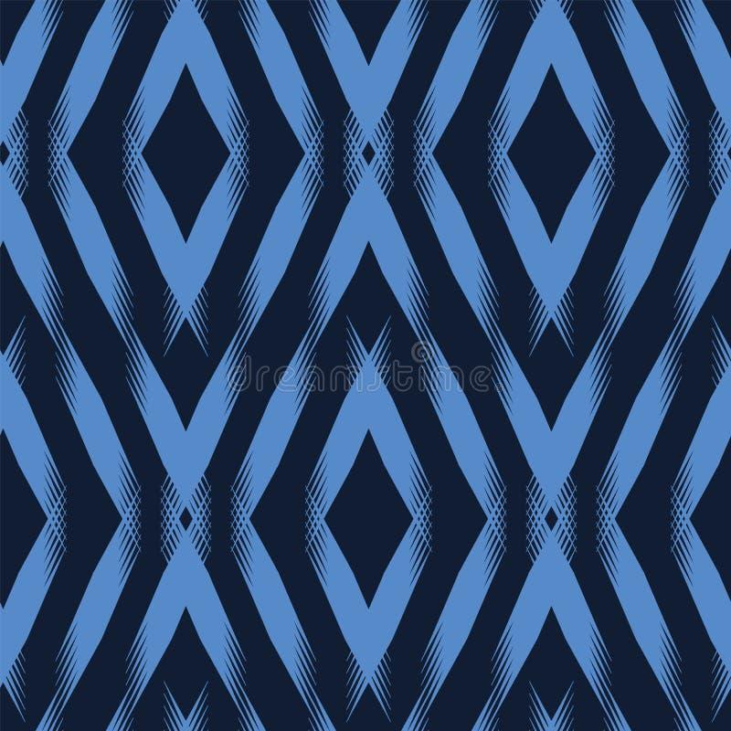 现代靛蓝色几何手拉的V形臂章金刚石 E 装饰单色geo 时髦表面 皇族释放例证