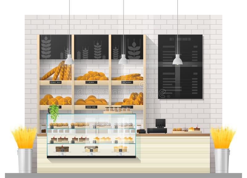 现代面包店商店内部场面有显示柜台的 向量例证