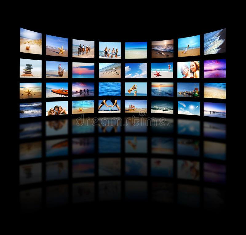 现代面板筛选电视 库存照片