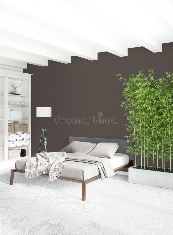 现代顶楼内部卧室或客厅有折衷墙壁的有空间的 3d翻译 库存例证