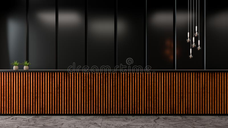 现代顶楼大厅室内设计、黑暗的墙壁和老木逆酒吧/3d回报 向量例证