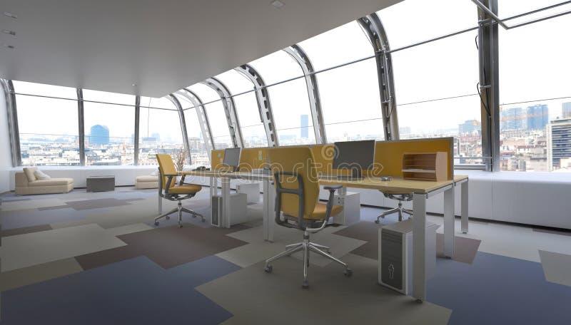 现代顶楼房屋办公室空间俯视的城市 皇族释放例证