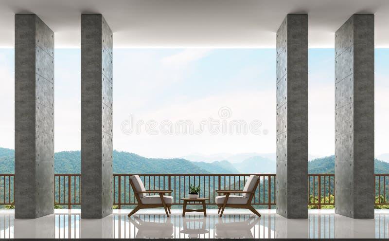 现代顶楼阳台和生活范围有山3d翻译图象全景  皇族释放例证