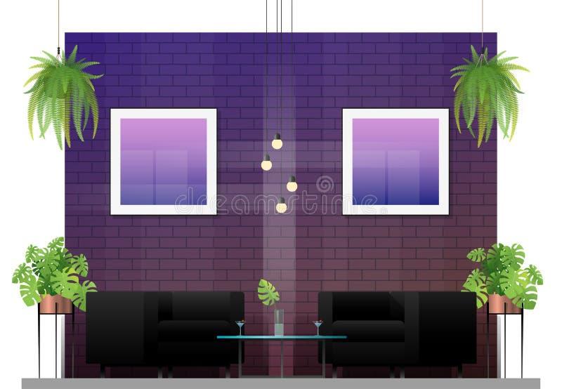现代顾客的餐馆和椅子内部场面有桌的 库存例证