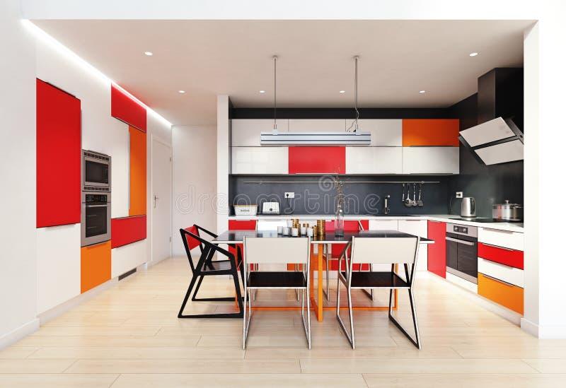 现代颜色厨房内部 皇族释放例证