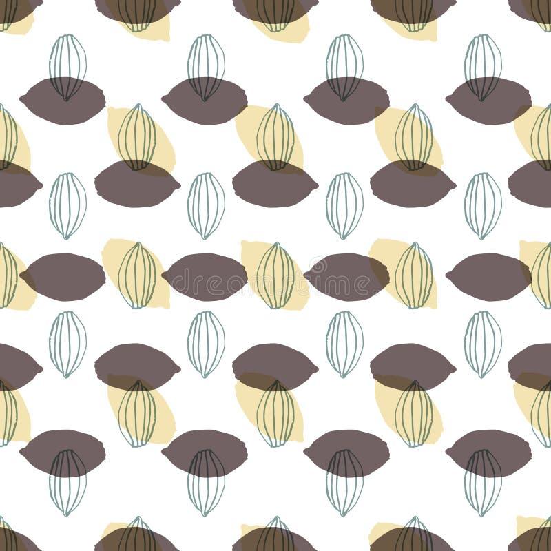现代风格化可可粉荚在几何安排无缝的传染媒介样式背景中塑造 皇族释放例证