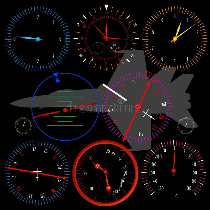 现代飞机的控制板 库存例证