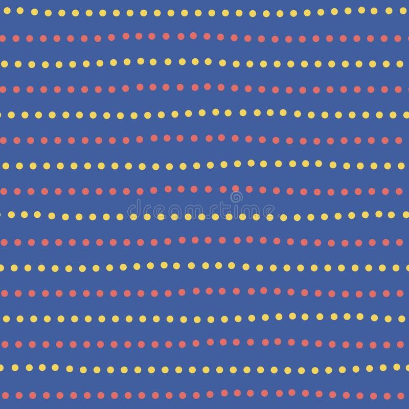 现代黄色和红色手拉的被加点的任意水平线 在蓝色背景的无缝的几何样式 ?? 库存例证