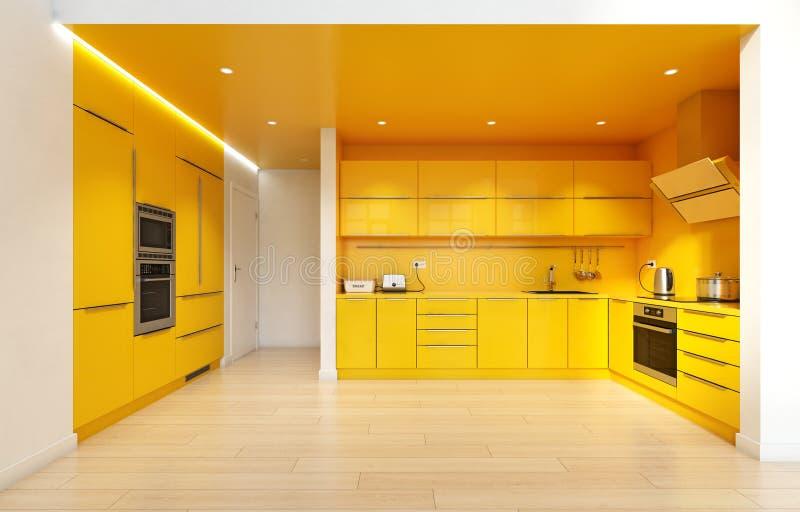 现代黄色颜色厨房内部 皇族释放例证