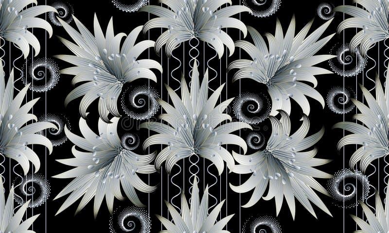 现代黑白色花卉镶边无缝的样式 3D墙纸 皇族释放例证