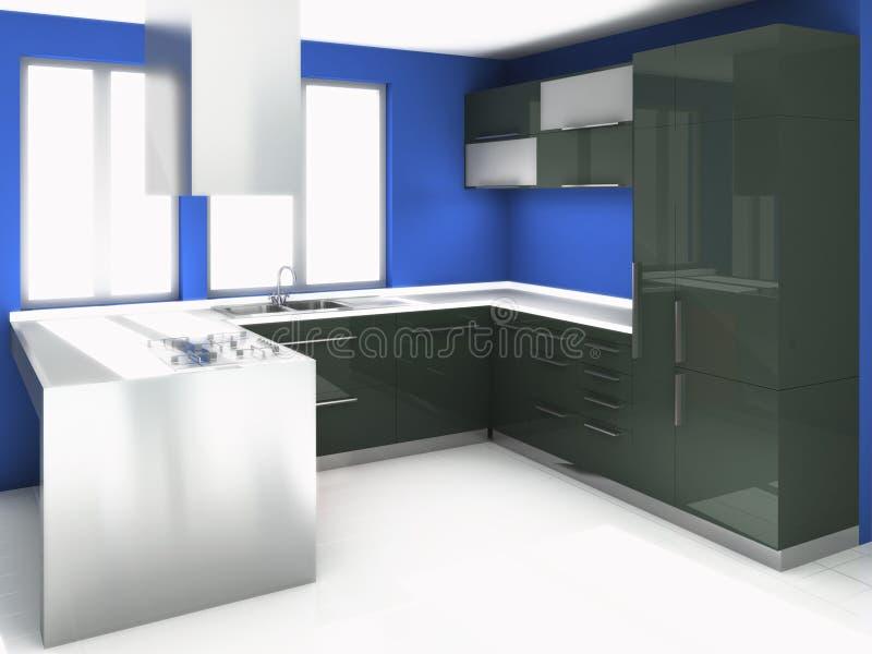 现代黑色的厨房 库存照片