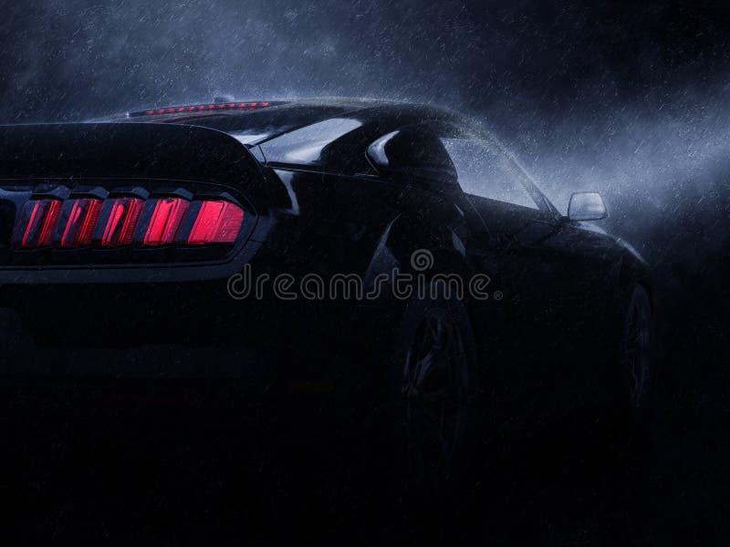现代黑超级肌肉车的尾灯视图 库存例证