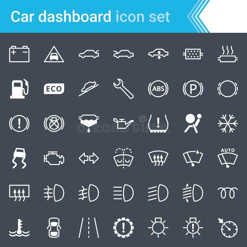 现代,被抚摸的汽车仪表板、显示和服务在黑暗的背景隔绝的维护象 库存例证