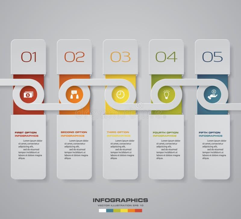 现代5步过程 Simple&Editable摘要设计元素 EPS10 皇族释放例证