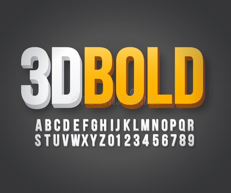 现代3d大胆的字体传染媒介 皇族释放例证