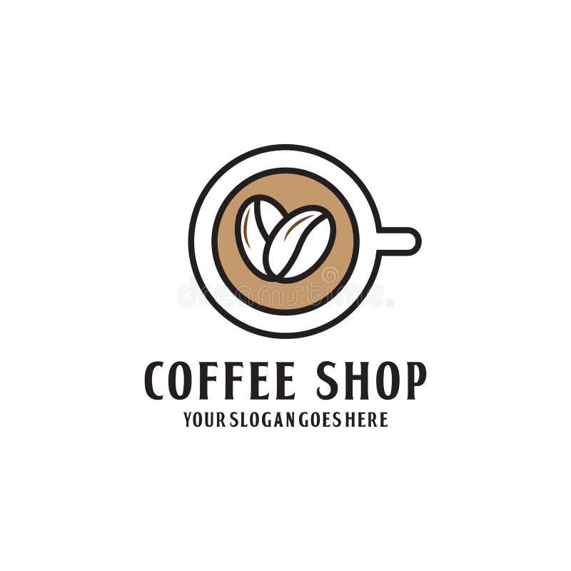 现代Coffe商店商标设计 向量例证