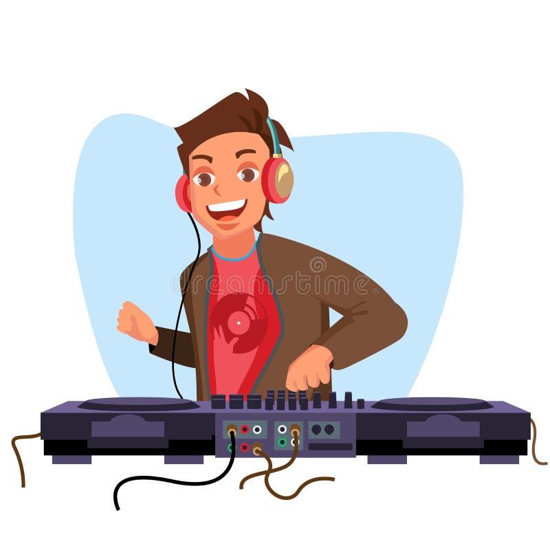 现代Dj导航 演奏进步电镀音乐 Dj和混合的控制台 夜总会概念 平的动画片 皇族释放例证