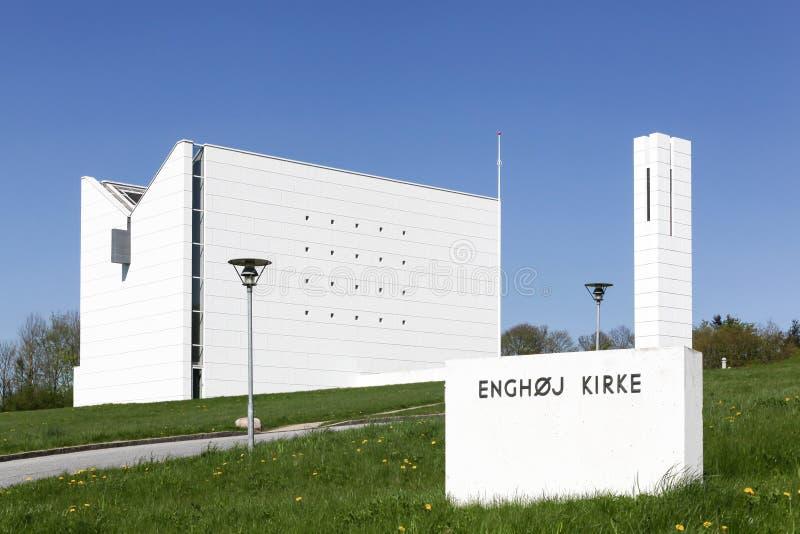 现代Enghoj教会在兰讷斯,丹麦 图库摄影