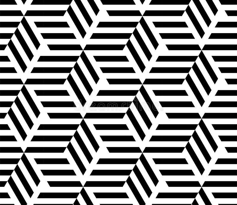 现代GEOMERTIC线性无缝的传染媒介样式 单色镶边菱形 艺术设计几何操作模式菱形无缝的向量 库存例证