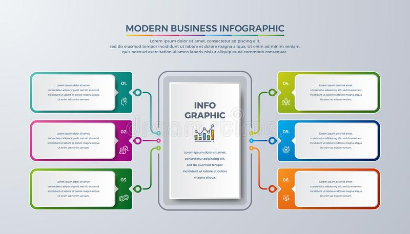 现代infographic与绿色,紫色,桔子和蓝色可以为您的过程,步,工作流布局使用和更 皇族释放例证