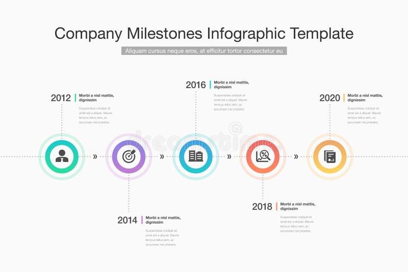 现代infographic公司与五颜六色的圈子、纵的沟纹象和地方的里程碑时间安排的您的内容的 库存例证