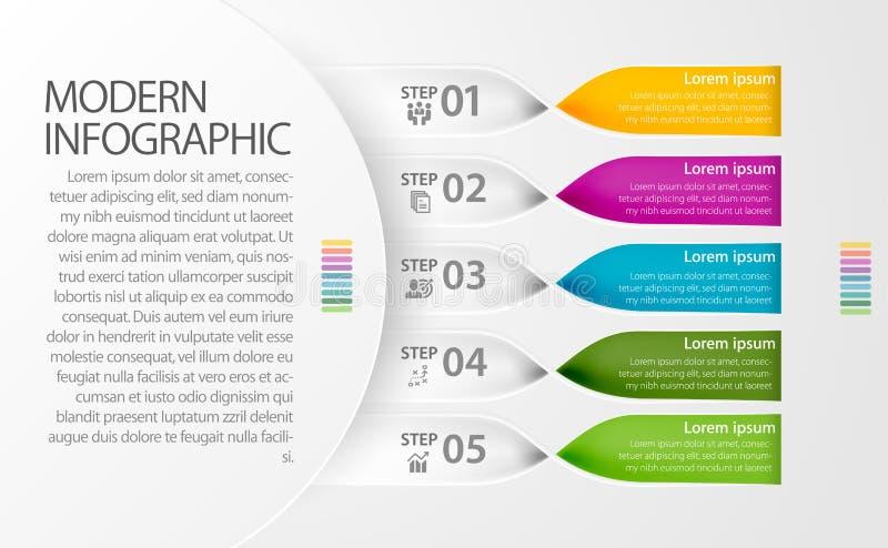 现代Infographic扭转了用途的倍数的带设计例如事务、工作流、图和介绍 免版税图库摄影