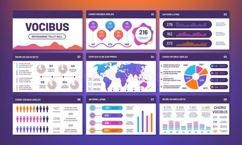 现代infographics介绍模板传染媒介 信息图,饼,比较图表 向量例证