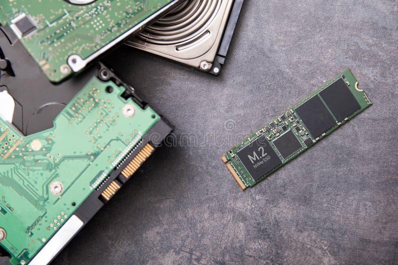 现代m 2 SSD驱动和老硬盘驱动器 免版税库存图片