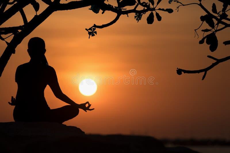 现出轮廓健康妇女行使重要在海滩的岩石思考和实践的瑜伽在日落的生活方式 库存照片