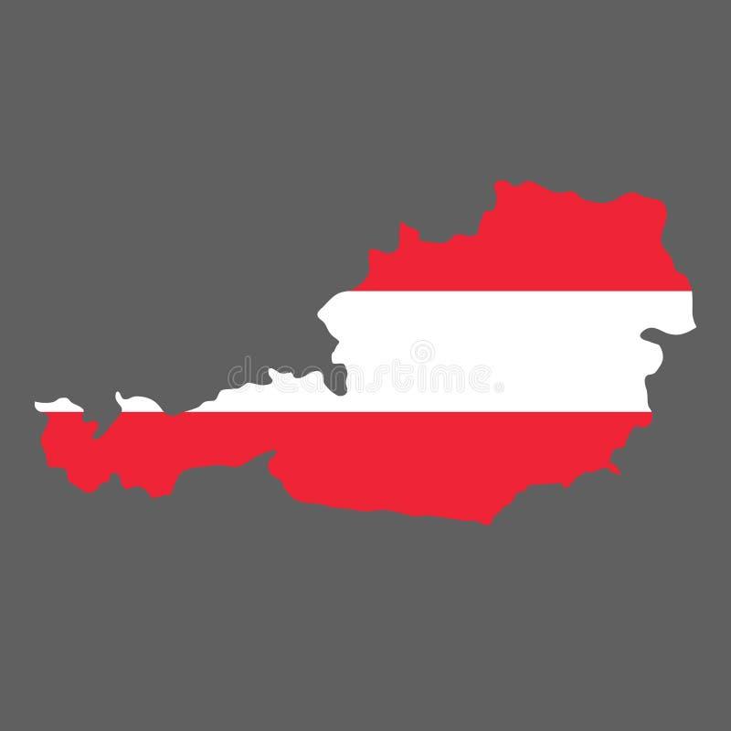现出轮廓国家奥地利的边界地图国旗backg的 向量例证
