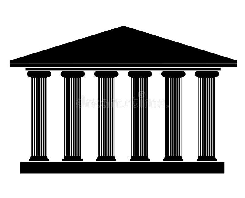 现出轮廓在希腊样式的一个古老大厦与专栏 教育和正义的标志 皇族释放例证