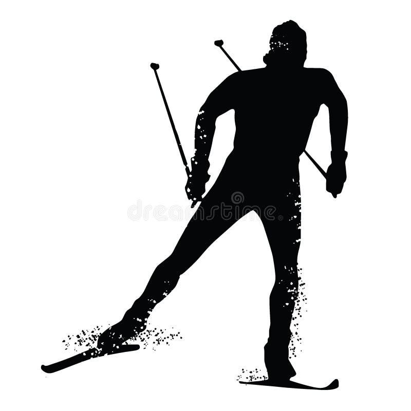 现出轮廓在白色背景隔绝的越野滑雪 库存例证