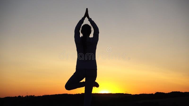 现出轮廓少妇实践的瑜伽和凝思在日落 库存照片