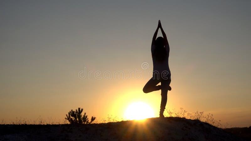 现出轮廓少妇实践的瑜伽和凝思在日落 免版税库存照片