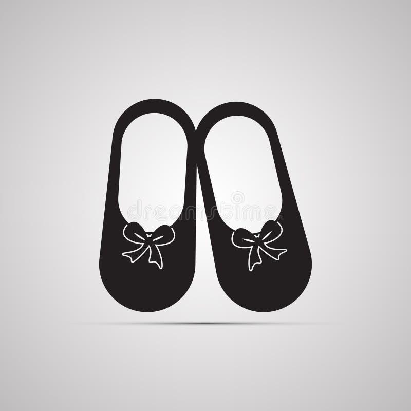 现出轮廓平的象,与阴影的简单的传染媒介设计 妇女` s拖鞋 向量例证