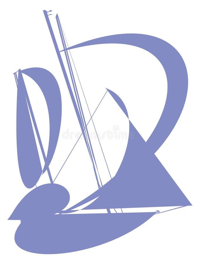 现出轮廓有风帆的蓝色抽象游艇在白色背景 库存例证