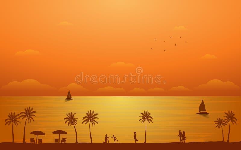 现出轮廓与家庭的在平的象设计的棕榈树和夫妇在日落天空背景下 向量例证