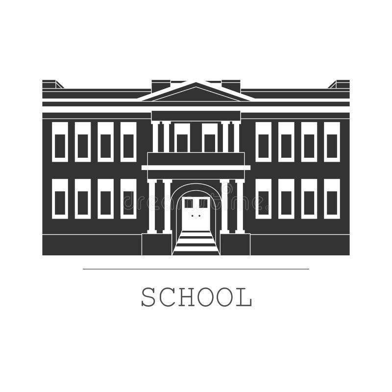 现出轮廓例证在一个平的样式的教学楼 皇族释放例证