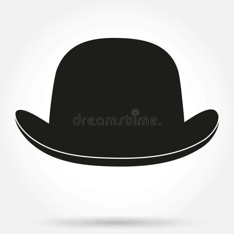 现出轮廓圆顶硬礼帽的标志在白色的 皇族释放例证