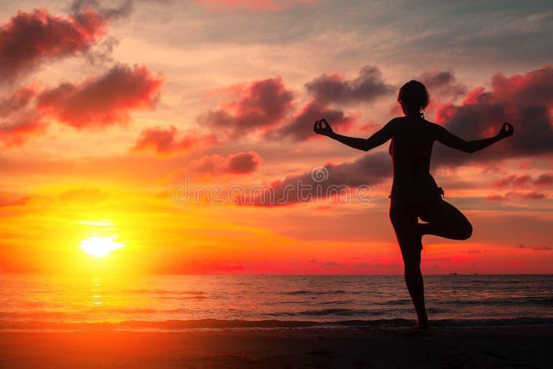 现出轮廓在海滩的少妇实践的瑜伽在超现实主义的血淋淋的红色日落 自然 库存图片