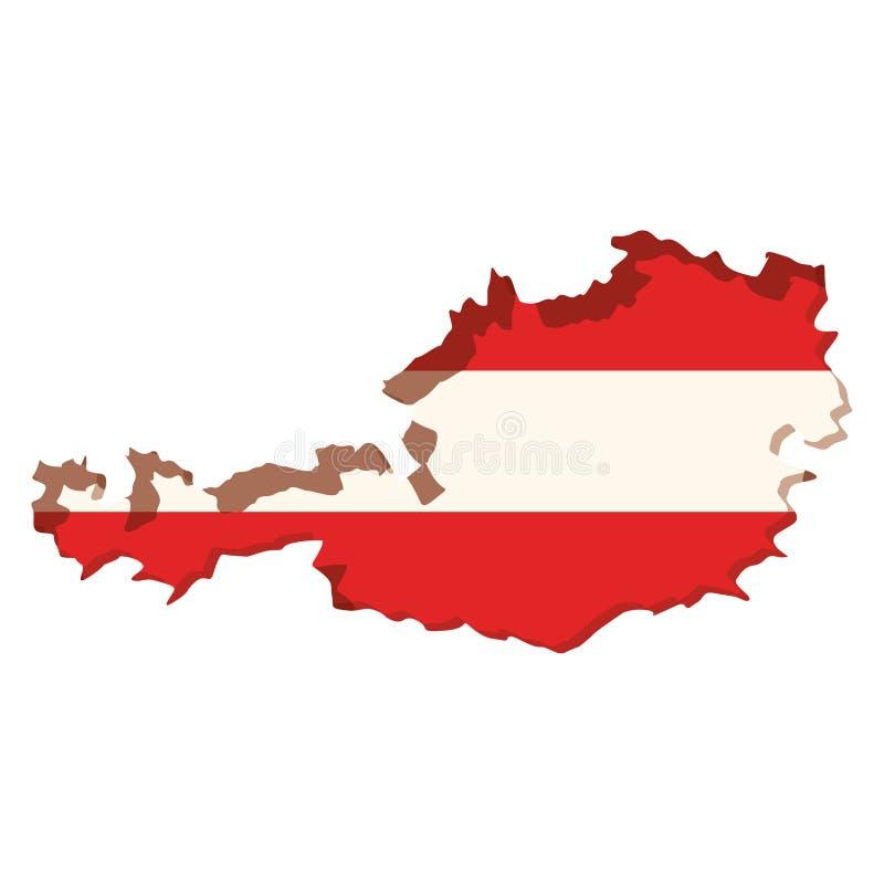 现出轮廓奥地利和颜色旗子地图里面 库存例证