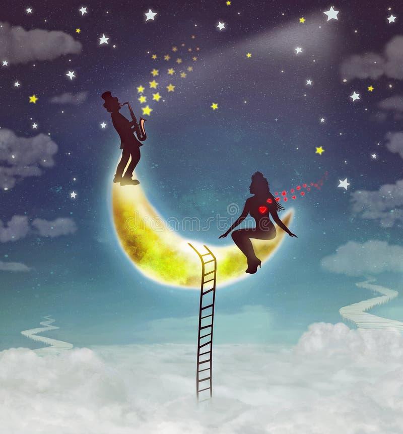 现出轮廓女孩和男孩的例证坐月亮 皇族释放例证