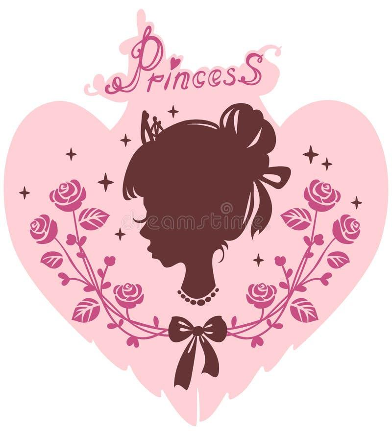 现出轮廓女孩的头花框架的公主  向量例证
