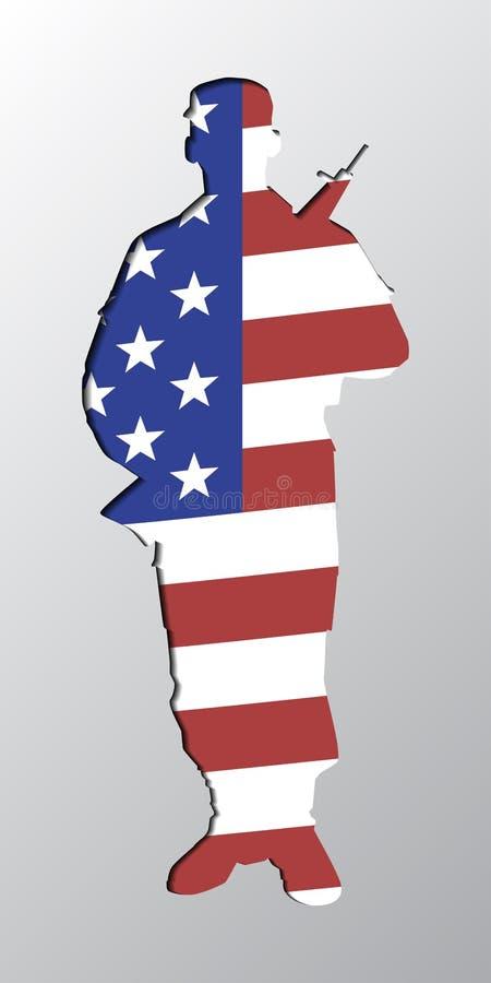 现出轮廓有一杆枪的人在美国旗子 向量例证
