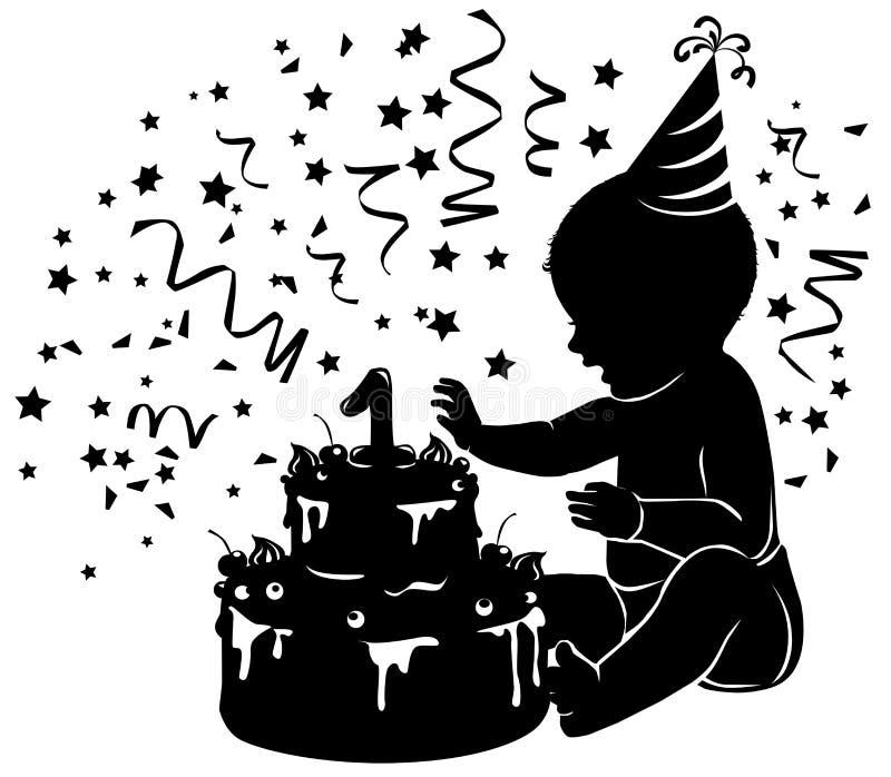 现出轮廓有生日蛋糕的婴孩与蜡烛形象 皇族释放例证