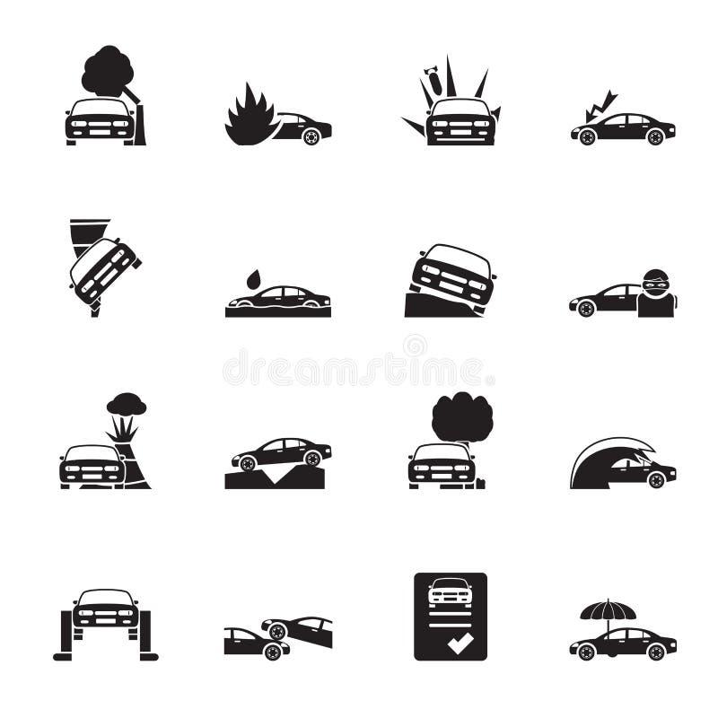 现出轮廓汽车和运输保险和风险象 向量例证